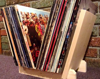 """New LP RECORDS STAND. Holds at least 50 Single 12"""" Vinyl Albums! Hand-Built, New Wood! Display, Flip, Browse, Storage, Rack. LaserDiscs too."""