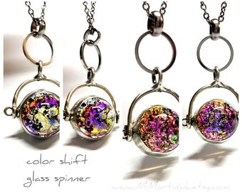 Color Shift Fidget Spinner Necklace Nature Real Leaf Orb Double Sided Quality Handmade Artisan Glass Jewelry Popular Gifts for Her