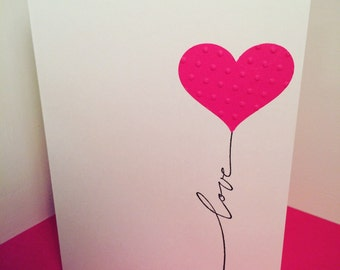 love, wedding, anniversary, Valentine's Day, bridal shower, soulmates, heart, balloon card with envelope