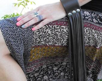 "Brown leather long fringe cuff 2"" wide bracelet, leather jewelry for her, rock'n'roll fringe, brown bracelet, Lizi Rose"