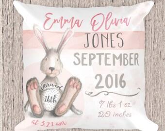 Bunny Pillow, Bunny nursery decor, Rabbit decor for nursery, Birth Announcement Pillow - Personalized Pillow - Pillow Baby Decor, baby gift
