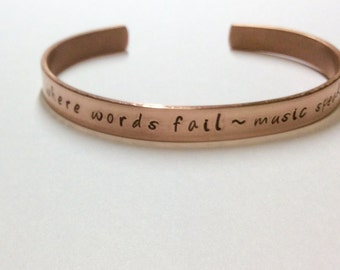 Personalized, copper, cuff, bracelet, handmade, hand stamped