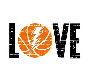 LOVE Basketball Lightening bolt SVG Distressed