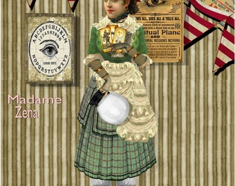 Fortune Teller Paper doll Madame Zena collage sheet articulated gypsy fortune teller puppet with circus paper