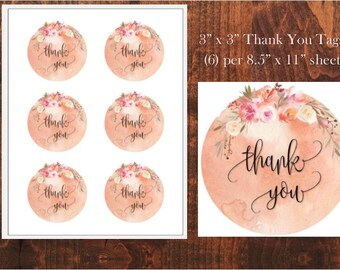 "3"" x 3"" Peach Dream Floral Thank You Tags Wedding Bridal Baby Shower"