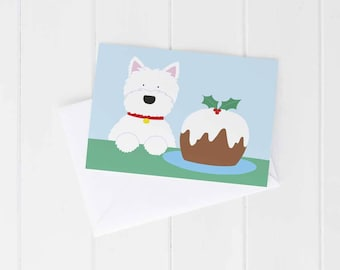 Greeting card, Christmas, Westie dog, West Highland Terrier, guarding the Christmas pudding