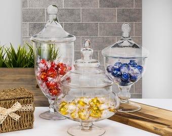 "Glass Apothecary Jars Set of 3, Candy Buffet Jars, Glass Jar with Lid, H-10"", 9.5"", 13.5"", #GAJ006111112"