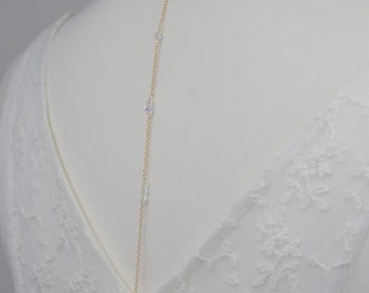 Necklace back in gold 14 k gold filled jewelry, Pearl Swarovski crystal clear, transparent model M61