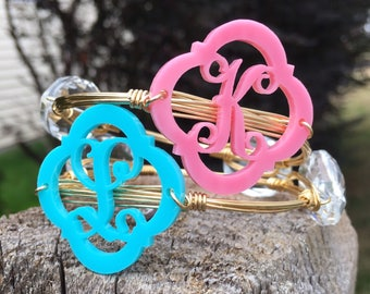 Monogram Wire-wrapped Bangle || Mothers Day || Wire-wrapped Bangles || Stack of the Day || Triple Monogram bangle stack