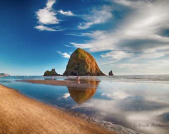 Cannon beach, Oregon, Haystack rock, sunset, blue sky, Pacific ocean, landscape photography poster for hanging in house, wall decor, print