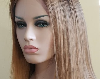 Human Hair  Handmade lacefront wig Brown blonde ombre bob. Short bob  -READY TO SHIP