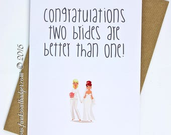 Gay Wedding Card Congratulations Two Brides Are Better Than One