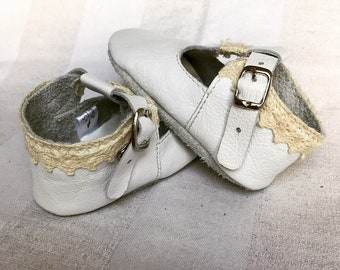 Genuine Leather Baby Toddler Girl Mary Jane Shoes With Cotton Lace Trim