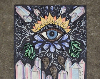 Eye See drawing 2015- illustration- crystal art- trippy-