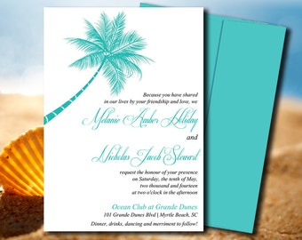 Beach Wedding Invite Microsoft Word Template | Lazy Palm Blue Teal | Destination Wedding Invitation Template | Tropical Wedding