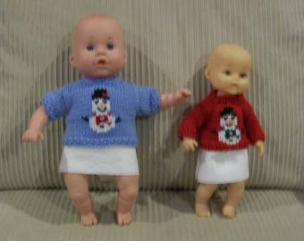 107) 10 and 12 Inch Dolls Snowman Crew Neck Sweaters Knit Hand Made Embroidered Snowman Dolls Doll Clothes Baby 10 inch and 12 Inch Dolls