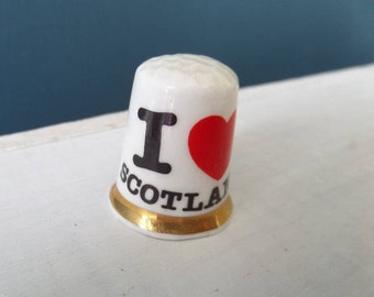 "Porcelain Thimble, I Love Scotland, Dimple Tip, Excellent Condition, Fine Bone China, Made in England 1"" x 0.75"", Circa 1980"