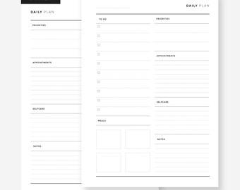 A5 Half - Daily Planner - Minimalist l Filofax Insert, Muji Insert, LV Agenda Refill, Kikkik Refills, A5 Insert, A5 Printable Insert