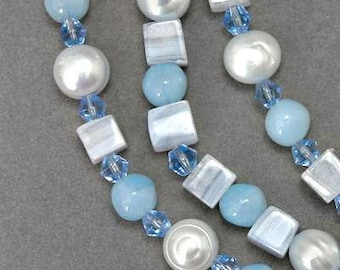 3 Strand Blue Lace Agate Pearl Crystal Necklace Sterling Silver Clasp
