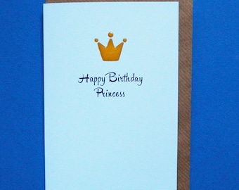 Happy Birthday Princess. Daughter, Wife, Friend, Girlfriend - Hand-enamelled art card.