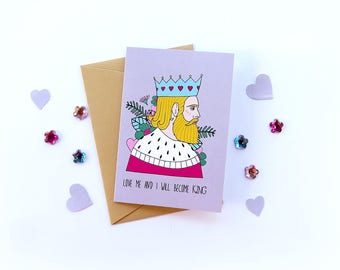 Greetings cards by Marta Fofi, King, valentines card, valentine's gift, cards, postcards