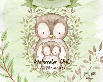 WATERCOLOR OWLS, woodland, baby shower owls invite, birthday invitation, baby shower clipart, watercolor Papers, commercial use.