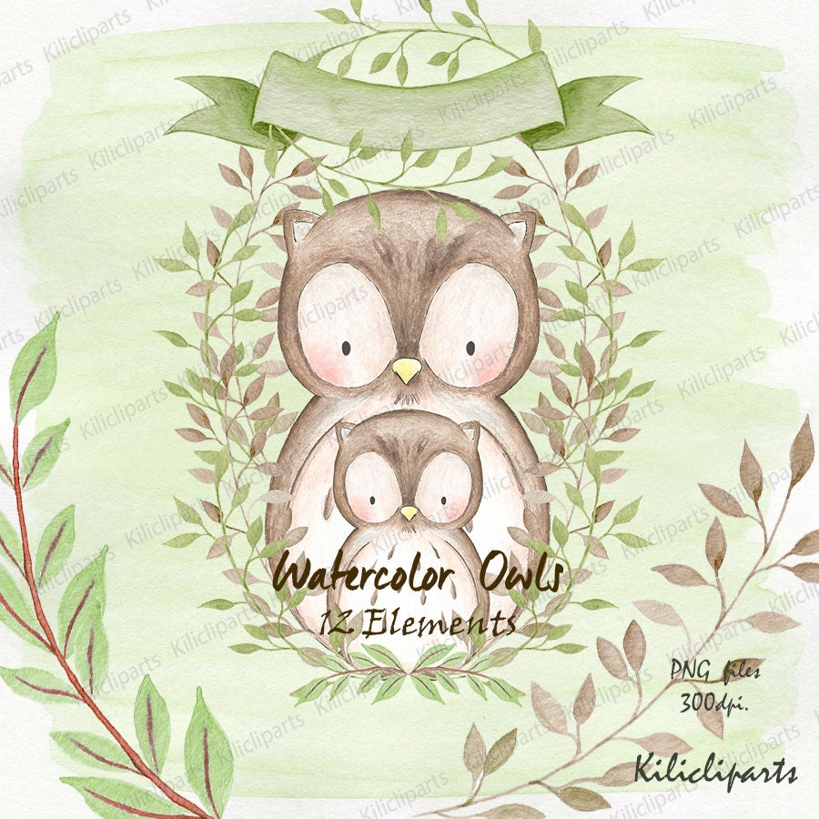 WATERCOLOR OWLS, woodland, baby shower owls invite, birthday ...
