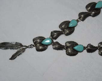 So Sweet Vintage Sterling Navajo TC Sleeping Beauty Turquoise Feather Squash Blossom Necklace 40 Grams