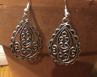 Silver Teardrop - Paisley filigree earrings