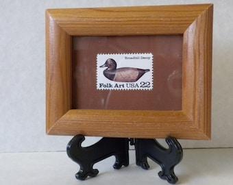 Folk Art, Duck Decoy, framed mint 22 cent US postage stamp, framed picture, duck decoy collectible