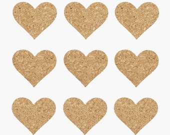 small Cork heart for sticking and decorate such as glass - self adhesive