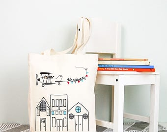 Flying High Personalised Boys Library Tote Bag