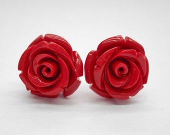 Sterling Silver Rose Earrings, Red Rose Earrings, Resin Flower Jewelry, Stud Earrings, Gift for Her, Rose Jewelry, Rose Stud Earrings, #2634
