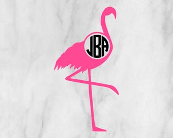 Flamingo Monogram Decal / Monogram sticker / yet cooler monogram decal / laptop decal / car decal /circle monogram