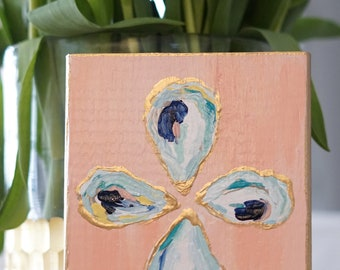 Oyster Painting on Wood Block - Abstract Oyster Painting - North Carolina Artwork - Custom Color