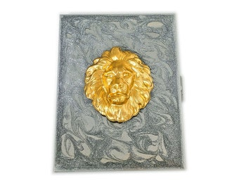 Lion Head Metal Cigarette Case Inlaid in Hand Painted Enamel Metallic Silver Swirl Design Custom Colors and Personalized Options