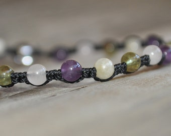 Rose Quartz, Moonstone, Amethyst, Peridot Meditation Anklet, Minimalist Jewelry, Hypoallergenic, Yoga Anklet, Fertility