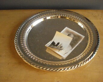 Vintage Silver Punch Tray - Ornate Round Platter or Serving Tray - Wm. Rogers