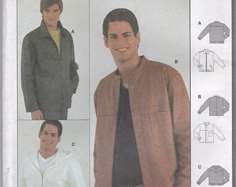 ON SALE 2000's Sewing Pattern - Burda  8825 Mens Jacket  Size 36 - 48 inches  Uncut, Factory Folded