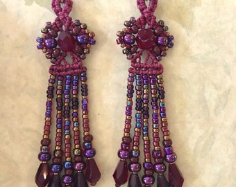 Long Beaded Earrings in Scarlet Red, deep purple and gold, Macrame earrings, fringed earrings, boho