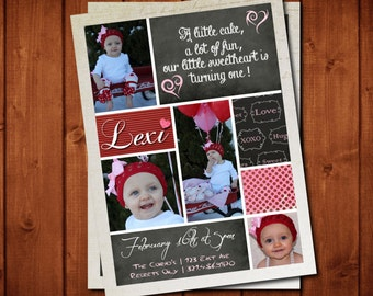 Sweetheart  Birthday Invitation or Valentine's Day Card Digital file OR Add Prints Front & Back