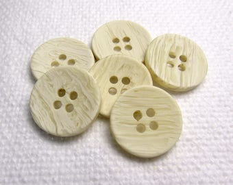 """Marbled Cream: 3/4"""" (19mm) Variegated Cream Buttons - Set of 6 Vintage New Old Stock Buttons"""