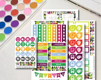 Student High School Planner Sticker Sheet, The Ones for Students Collection, Erin Condren, Happy Planner, Traveler's Notebook