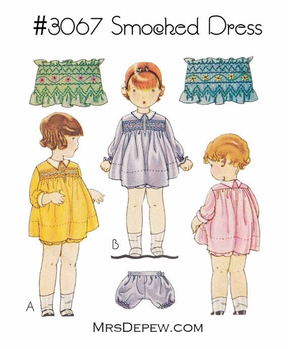 1930s Children's Fashion: Girls, Boys, Toddler, Baby Costumes  1930s Smocked Dress & Bloomers #3067 - INSTANT DOWNLOAD PDFVintage Sewing Pattern Reproduction Girls 1930s Smocked Dress & Bloomers #3067 - INSTANT DOWNLOAD PDF $7.50 AT vintagedancer.com