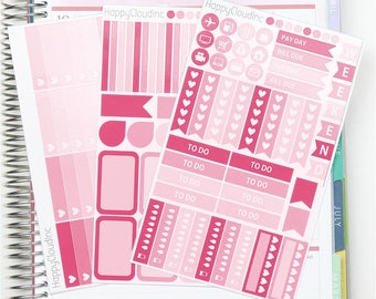 February '18 HORIZONTAL Planner Stickers Kit for use with Erin Condren LifePlanner™ (3 sheets)