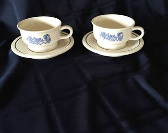 Set of Two Flat Cups and Saucers,  Yorktowne  by Pfaltzgraff