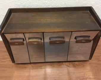 vintage Canister Set wood and Metal