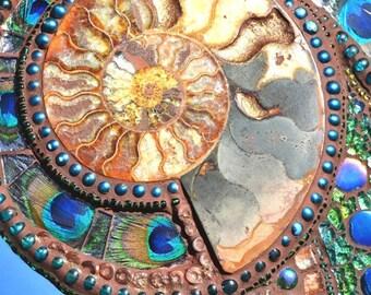 SOLD - Mosaic, Ammonite, Paua shell & Peacock feather mirror - mosaic art - SOLD