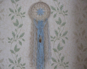 Large- -dream-catcher - North Star-35 inch length--blue -silver  Wall Art