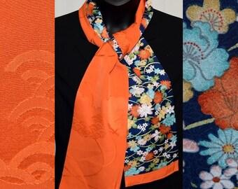 Silk Scarf Women's Wrap Vintage Japanese Kimono Fabric Summer Garden